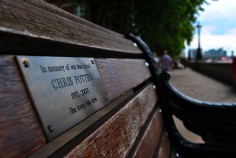 El banco donde se sentaba Chris Potter