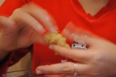 Galletas en manos de Miri